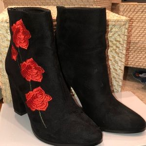 Shoes - Faux Suede point ankle booties with rose details.